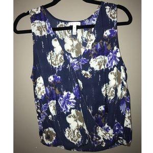 Sheer floral print sleeveless top size medium
